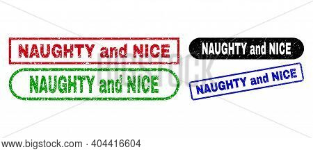 Naughty And Nice Grunge Watermarks. Flat Vector Grunge Watermarks With Naughty And Nice Tag Inside D