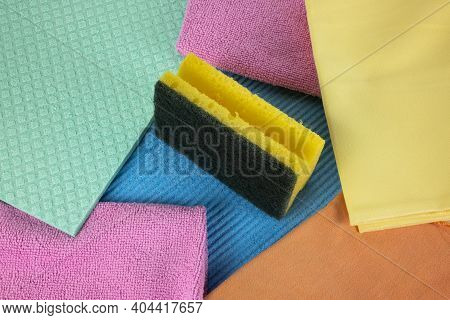 Utensils For Washing Dishes And Hygiene In The Kitchen: Sponge, Dishcloths And Micro Fiber Cloths