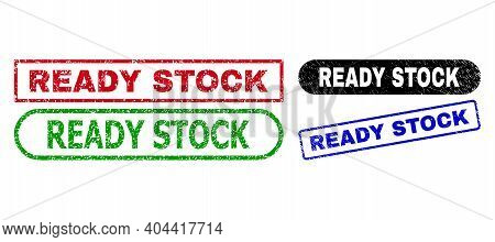 Ready Stock Grunge Stamps. Flat Vector Grunge Seal Stamps With Ready Stock Title Inside Different Re