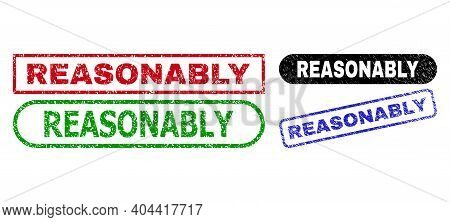 Reasonably Grunge Seal Stamps. Flat Vector Grunge Seal Stamps With Reasonably Tag Inside Different R
