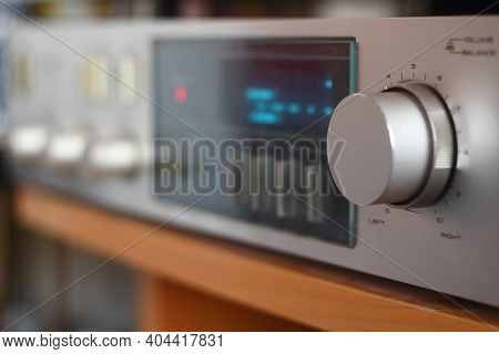 Detail Of An Amplifier Volume Button. Close Up Volume Button.