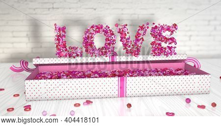 Word Love Made Up Of Small Red, Pink And White Hearts And Spheres On An Open Gift Box Lined With Pin