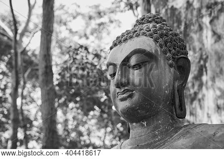 Phayao, Thailand - Dec 6, 2020: Headshot Black And White Front Left Buddha Statue Giving The Firts S