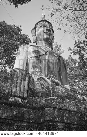 Phayao, Thailand - Dec 6, 2020: Portrait Black And White Front Right Meditation Buddha Statue In Gre