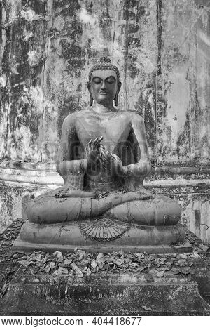 Phayao, Thailand - Dec 6, 2020: Portrait  Black And White Front Buddha Statue Giving The First Sermo