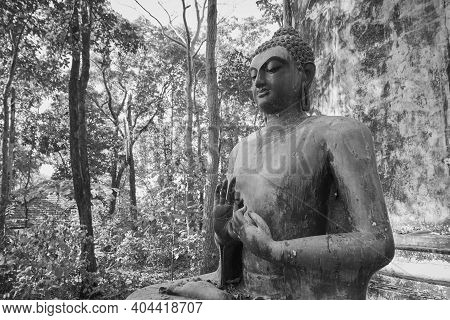 Phayao, Thailand - Dec 6, 2020: Zoom View Black And White Front Left Buddha Statue Giving The Firts