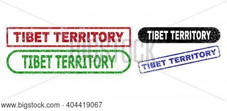 Tibet Territory Grunge Watermarks. Flat Vector Grunge Watermarks With Tibet Territory Phrase Inside