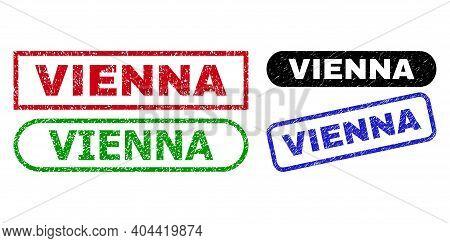 Vienna Grunge Seals. Flat Vector Grunge Seals With Vienna Slogan Inside Different Rectangle And Roun
