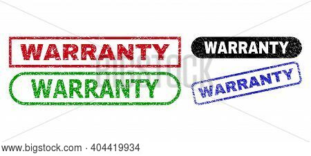 Warranty Grunge Seal Stamps. Flat Vector Scratched Stamps With Warranty Title Inside Different Recta