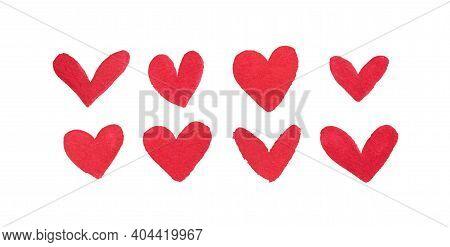 Hearts, Watercolor. Hand Drawn Illustration In Watercolour.
