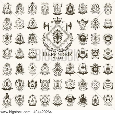 Heraldic Coat Of Arms Vector Big Set, Vintage Antique Heraldic Badges And Awards Collection, Symbols