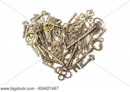 Old, Vintage Keys In The Shape Of A Heart Isolated On White Bacground