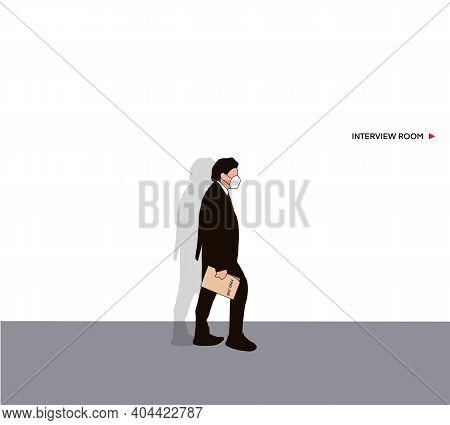 ฺbusinessman Holding Newspaper Find A Job Walk Into Job Interview Room. Job Interview Concept.