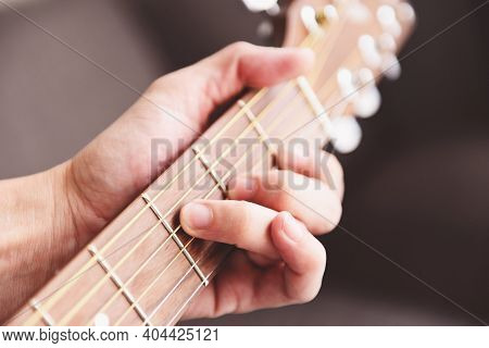 Man Hands Playing Acoustic Guitar, Close Up Chord Guitar Player