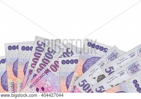 50000 Romanian Leu Bills Lies On Bottom Side Of Screen Isolated On White Background With Copy Space.