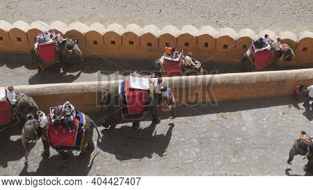 Jaipur, India - March 22, 2019: High Angle View Of Elephants At Amber Fort In Jaipur
