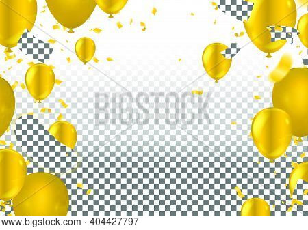 Yellow And Golden Baloons On The Upsteirs With Golden Confetti Isolated On  Background. Illustration