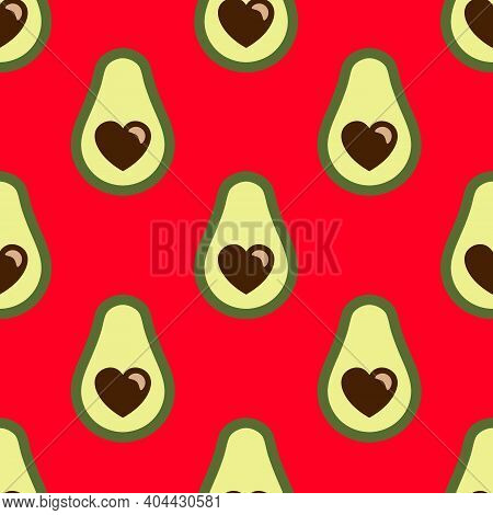 Avocado With Hearts Seamless Pattern On Red Background For Valentines Day. Cute Simple Avocado Backg