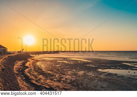 Iconic Moonta Bay Jetty During Sunset Time, Yorke Peninsula,  South Australia