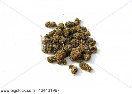 Marijuana. Cannabis. Marijuana Buds isolated on White. Cannabis is now legal in many of the United States of America. Pot is Enjoyed Medically and for Recreation World Wide.