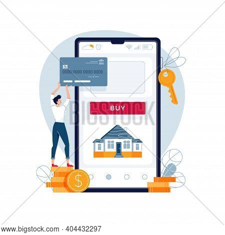 Buying A House Online Vector Illustration. Man Buys A Home Paying By Credit Card. Dealing House, Pro