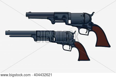 Two Revolver Pistols Vector Isolated Illustration. Drawing Of Vintage Colt Revolvers