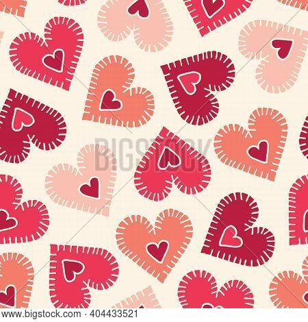 Valetnines Day Holiday Hand-drawn Craft Stitched Colorful Hearts On Cream Background Vector Seamless