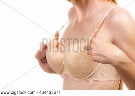 Female Wearing Too Big Bra