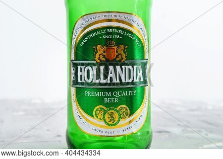 Tyumen, Russia-january 20, 2021: Dutch Beer, Hollandia Botles In Store. Brewed In Holland, Since 175