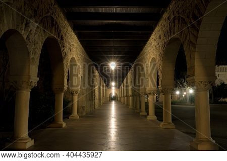 Empty Cloister Outside The Memorial Church In Palo Alto, California