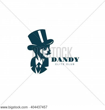 Gentleman In A Top Hat And With A Monocle Logo Design Template For A Light Background. Vector Illust