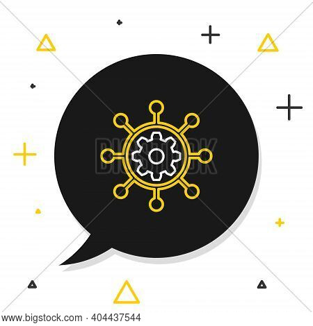 Line Project Management Icon Isolated On White Background. Hub And Spokes And Gear Solid Icon. Color