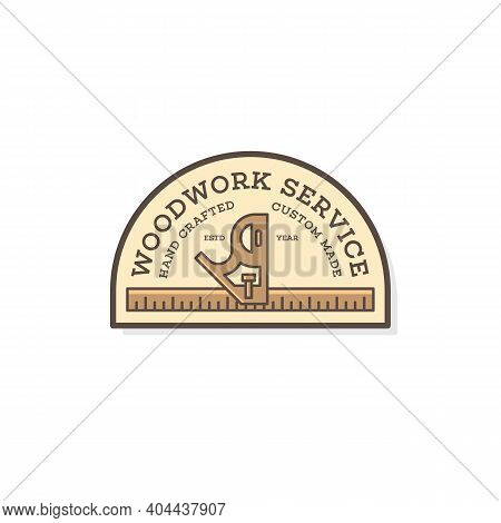 Label Design Template With Combination Square For Wood Shop, Carpentry, Woodworkers, Wood Working In