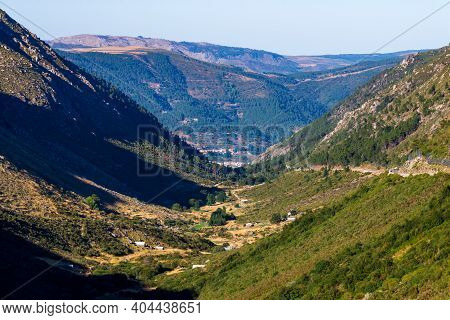 Green River Rio Zezere Valley Mountain Panorama Landscape On Sunset. Portugal, Serra Da Estrela.