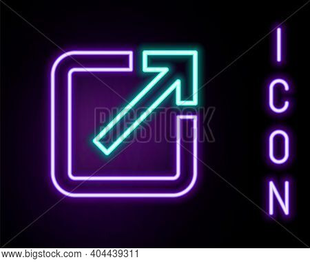 Glowing Neon Line Open In New Window Icon Isolated On Black Background. Open Another Tab Button Sign