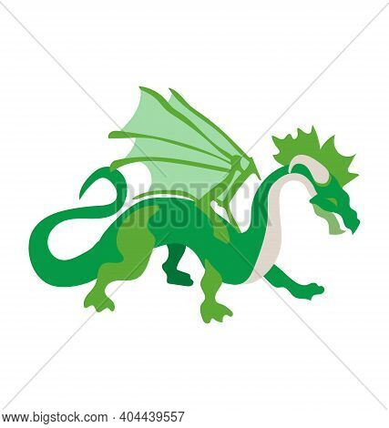 Quadroped Dragon - Green - Flat Vector Isolated