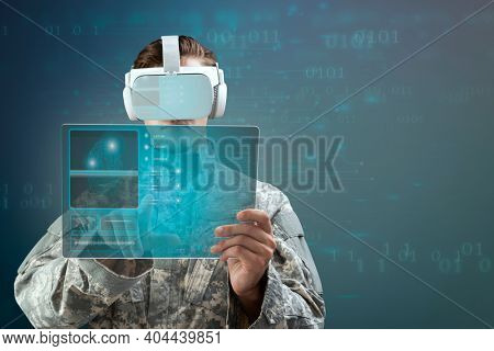 Military officer in VR headset touching virtual screen