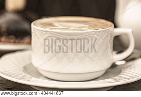 Cappuccino In A Cup, Hot Latte, Delicious Coffee. Coffe Time. Coffee Drink. Offee Or Coffe Cup At Ca