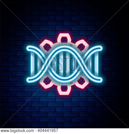Glowing Neon Line Genetic Engineering Icon Isolated On Brick Wall Background. Dna Analysis, Genetics