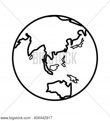 Earth Globe - Facing South East Asia - Black And White - Line Art - Vector Icon Isolated