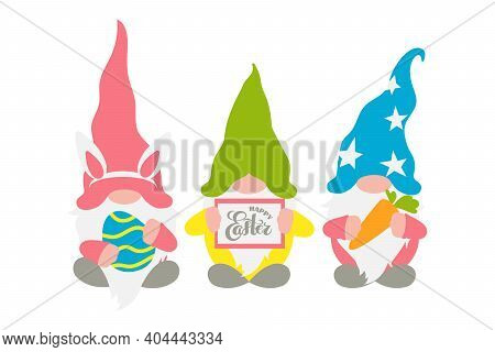 Easter Gnomes, Three Scandinavian Gnomes In Pastel Colors With A Chocolate Easter Egg, Rabbit Ears,