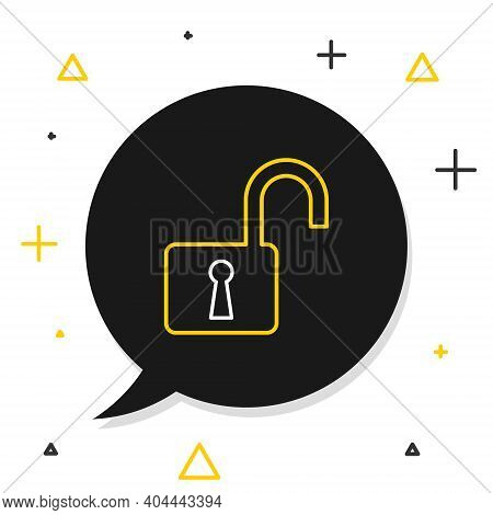 Line Open Padlock Icon Isolated On White Background. Opened Lock Sign. Cyber Security Concept. Digit