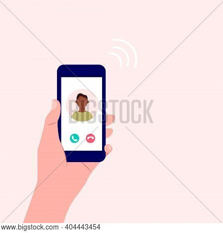 Incoming Call. Human Hand Holding Mobile Phone With Call  Screen With Man. Accept Or Decline Phone C
