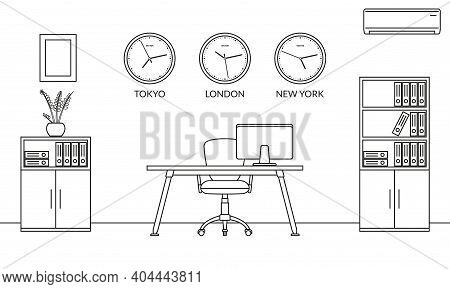 Office Interior Design Outline Sketch. Line Style Business Workspace With Office Chair, Desk, Comput