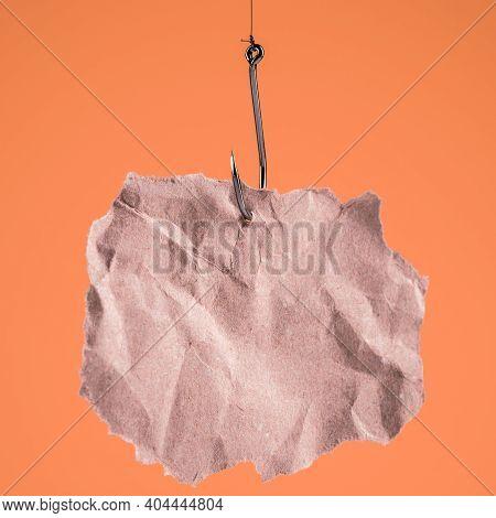 Blank Piece Of Paper On A Fishhook.