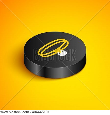 Isometric Line Collar With Name Tag Icon Isolated On Yellow Background. Supplies For Domestic Animal
