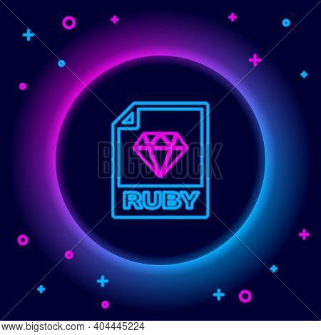 Glowing Neon Line Ruby File Document. Download Ruby Button Icon Isolated On Black Background. Ruby F
