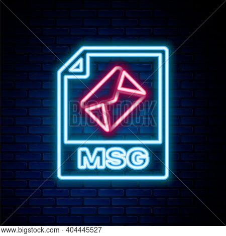 Glowing Neon Line Msg File Document. Download Msg Button Icon Isolated On Brick Wall Background. Msg