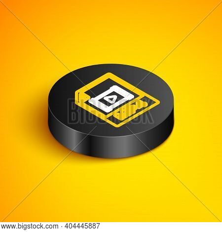 Isometric Line Mp4 File Document. Download Mp4 Button Icon Isolated On Yellow Background. Mp4 File S