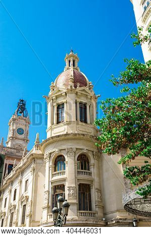 Valencia, Spain - 07-21-2019: Beautiful, Historical City Hall  On The Town Square,  Known As La Plaz
